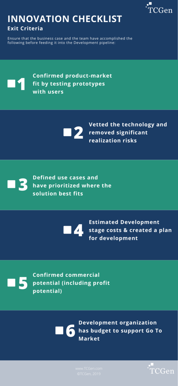 Discovery Checklist Exit Discovery and enter into Development - These are considerations for ensuring the idea is vetted and that management is comfortable with moving to the next phase, which would be to scale up the team and begin product development.